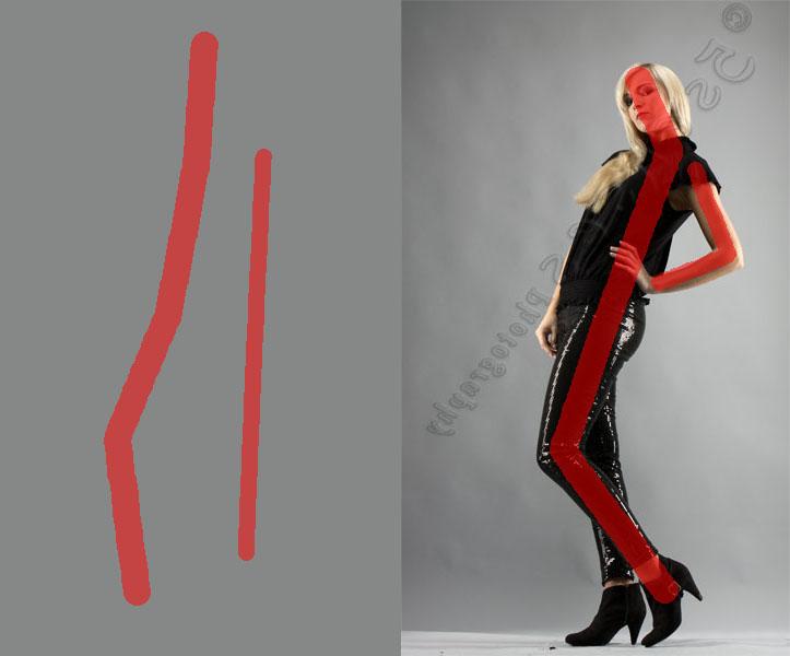 Die Linienführung im Bild, die durch das Posing entsteht, habe ich hier mit roten Linien skizziert.