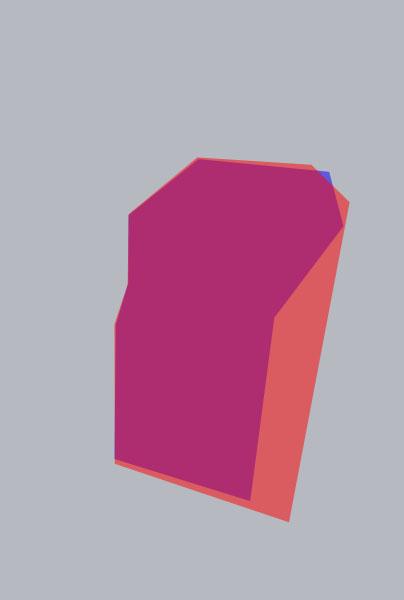 Die Oberkörperform, die das Modell auf dem Bild optisch bekommt, ist rot skizziert. Die blaue Fläche zeigt die Form, die eher der Realität entsprechen dürfte.