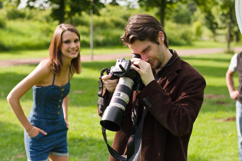 Kameramonitor bei der Betrachtung outdoor