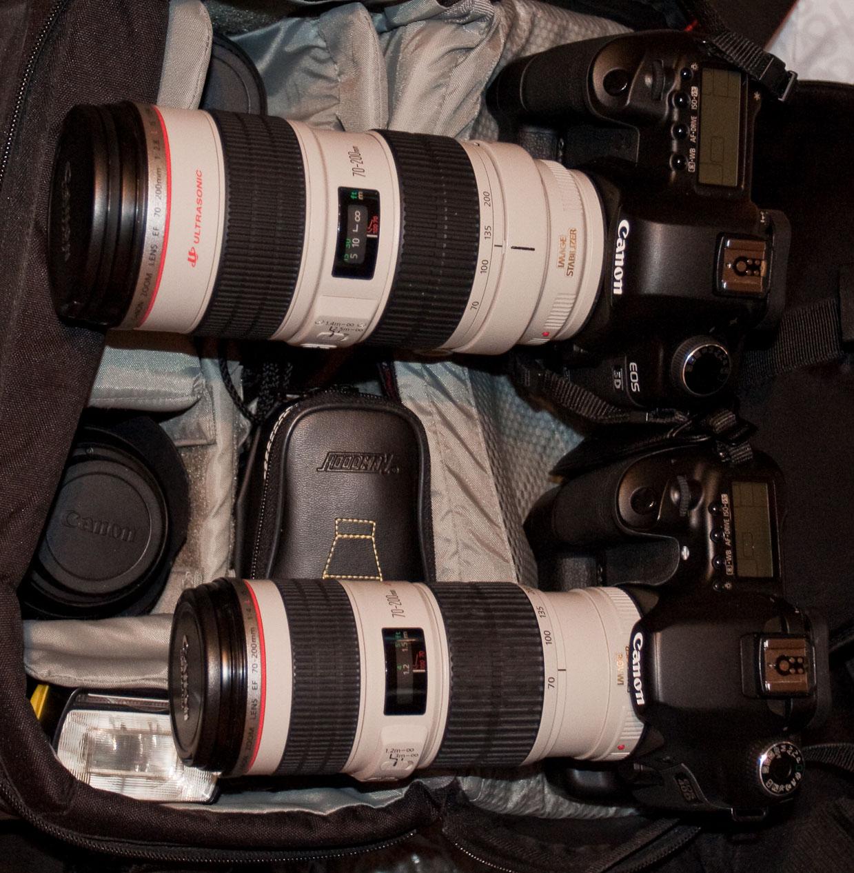 Canon EF 70-200 2,8 L IS USM und Canon EF 70-200 4 L IS USM (Größenvergleich)